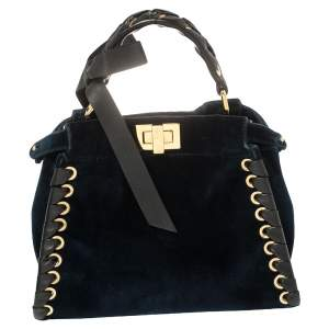 Fendi Blue/Black Velvet And Leather Ribbons Mini Peekaboo Top Handle Bag