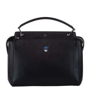 Fendi Black Leather Dotcom Shoulder Bag