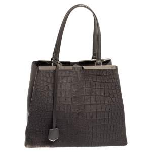 Fendi Grey Calf Hair and Leather Large 3Jours Tote