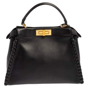 Fendi Black Leather Medium Whipstitched Peekaboo Top Handle Bag