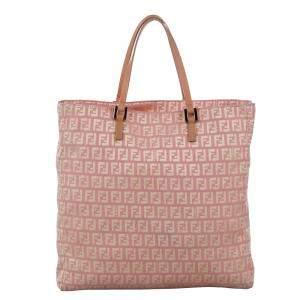 Fendi Pink Zucchino Canvas Tote Bag