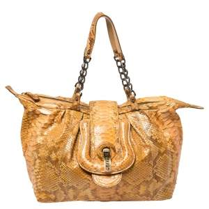 Fendi Mustard Python B Shoulder Bag