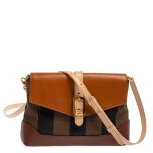 Fendi Multicolor Pequin Canvas and Leather Mini Crossbody Bag