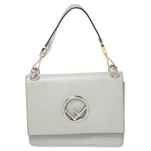 Fendi Ash Grey Leather Kan I F Top Handle Bag
