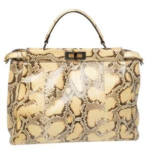Fendi Yellow Python Large Peekaboo Top Handle Bag