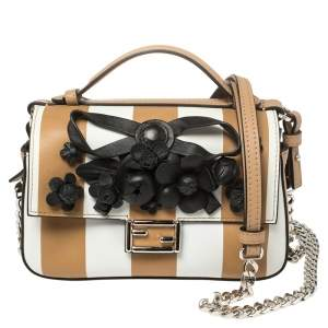 Fendi Black/Beige Striped Leather Double Micro Baguette Bag