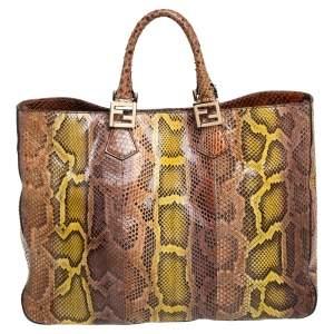 حقيبة يد فندي شوبر توينز جلد ثعبان متعدد الألوان