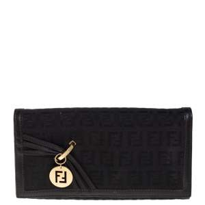 Fendi Black Zucchino Canvas and Leather Flap Continental Wallet