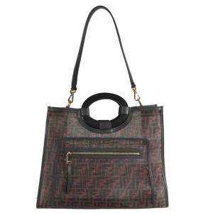 Fendi Brown and Black Zucca FF Embossed Leather Runaway Tote Bag