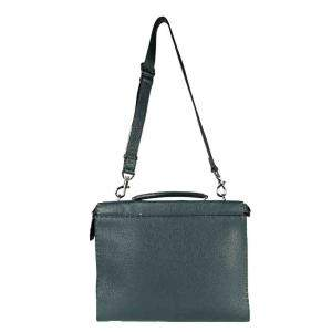 Fendi Green Leather Selleria Peekaboo Iconic Fit Tote Bag