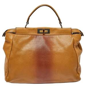 Fendi Tan/Brown Ombre Leather with Calfhair Lining Large Peekaboo Top Handle Bag