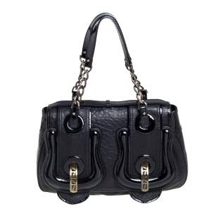 Fendi Black Leather and Patent Leather B Bis Shoulder Bag