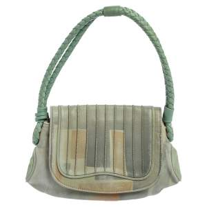 Fendi Green Printed Leather Braided Handle Small Shoulder Bag