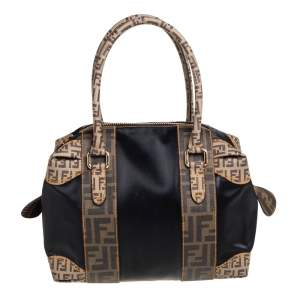 Fendi Black/Tobacco Zucca Coated Canvas and Nylon Boston Bag