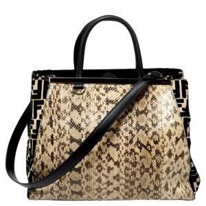 حقيبة يد فندي ساك 2جور متوسطة جلد ثعبان و قيفة زوكا كريمي و أسود