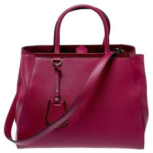 Fendi Magenta Leather Medium Sac 2jours Tote