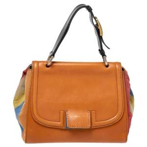 Fendi Multicolor Stripe Canvas and Leather Silvana Top Handle Bag