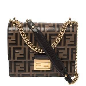Fendi Black/Brown Zucca Leather Small Kan U Shoulder Bag