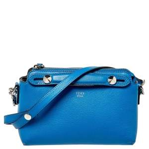 Fendi Blue Leather Mini By The Way Crossbody Bag