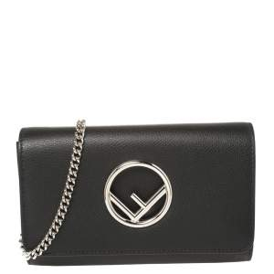 Fendi Black Leather Kan I F Wallet On Chain Clutch