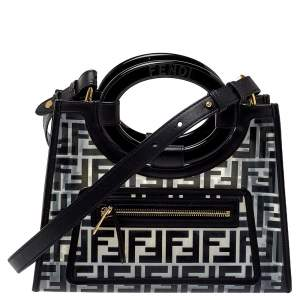 Fendi Transparent/Black Zucca PVC and Leather Small Runaway Shopper Tote