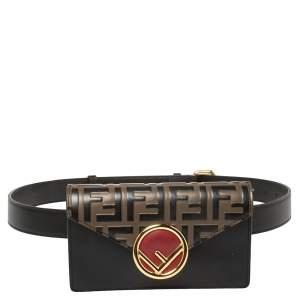 Fendi Black/Brown Leather FF Logo Belt Bag