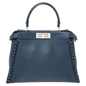 Fendi Blue Leather Medium Whipstitched Peekaboo Top Handle Bag