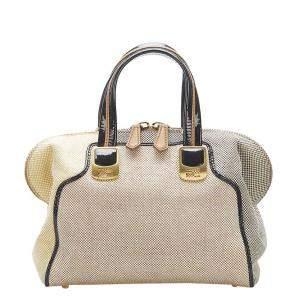 Fendi Brown/Beige Colorblock Canvas Leather Chameleon Shoulder Bag