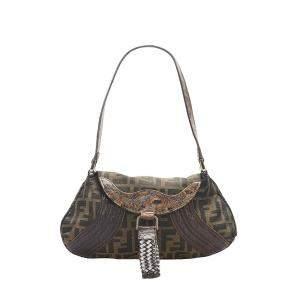 Fendi Brown Canvas Fabric Zucca Shoulder Bag