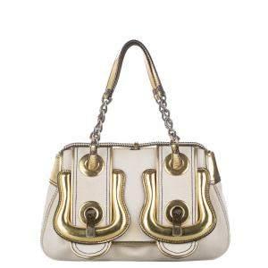 Fendi White Canvas Fabric B. Bag Shoulder Bag
