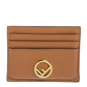 Fendi Brown Leather F is Fendi Card Holder
