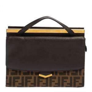 Fendi Brown Zucca Canvas and Leather Small Demi Jour Top Handle Bag