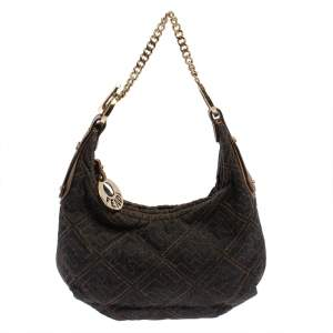 Fendi Navy Blue Zucca Denim and Leather Chef Chain Link Hobo