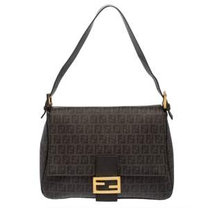 Fendi Tobacco Zucchino Coated Canvas and Leather Mama Forever Shoulder Bag