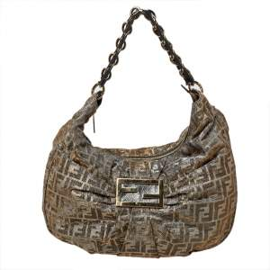 Fendi Metallic Zucca Lurex Fabric Mia Hobo