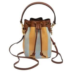 Fendi Multicolor Canvas and Leather Mini Mon Tresor Drawstring Bucket Bag