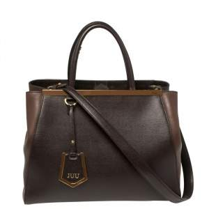 Fendi Two Tone Brown Leather Medium 2Jours Tote