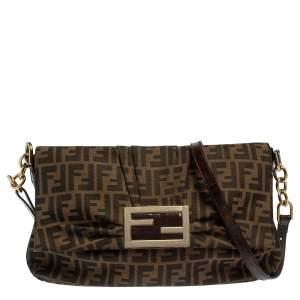 Fendi Tobacco Zucca Canvas and Patent Leather Mia Crossbody Bag