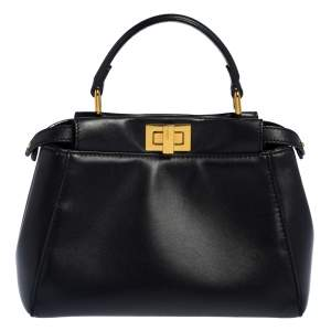 Fendi Black Leather Small Peekaboo Top Handle Bag