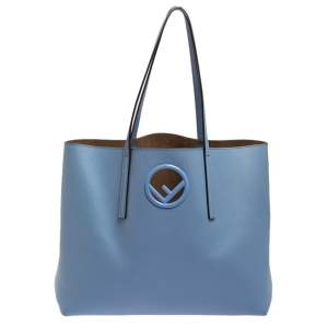 Fendi Blue Leather Kan I F Shopper Tote
