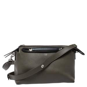 Fendi Grey/Black Leather Medium By The Way Boston Bag