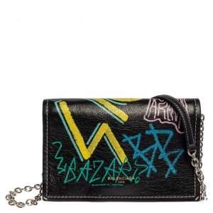 Balenciaga Black Graffiti Print Leather Agneau Leather Bazar Chain Shoulder Bag