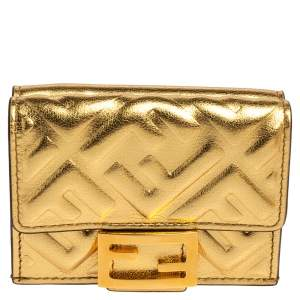 Fendi Gold Logo Embossed Leather Micro FF Trifold Wallet