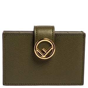 Fendi Olive Green Leather F Multiple Card Holder