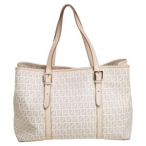 Fendi Light Beige Zuccachino Coated Canvas and Leather Trim Shopper Tote