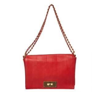 Fendi Red Pequin Embossed Leather Large Claudia Shoulder Bag
