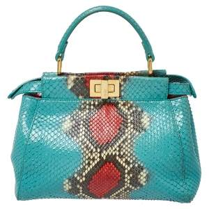 Fendi Turquoise/Red Python Mini Peekaboo Top Handle Bag
