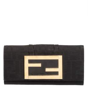 Fendi Black Zucca Canvas FF Flap Continental Wallet