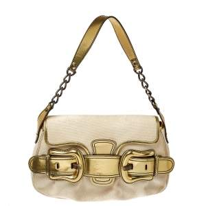 Fendi Cream/Gold Canvas and Mirrored Leather B Bis Shoulder Bag