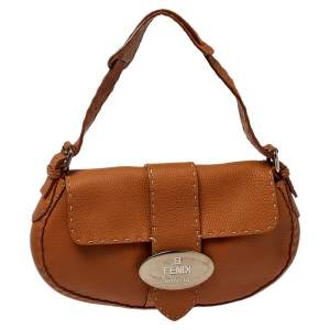 Fendi Tan Roman Leather Selleria Flap Bag